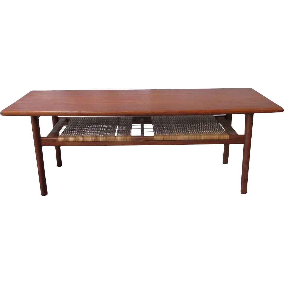 Danish Mid-Century Modern Coffee Table with Woven Accents