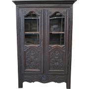 French Antique Carved Two Door Bookcase Cabinet Antique Furniture