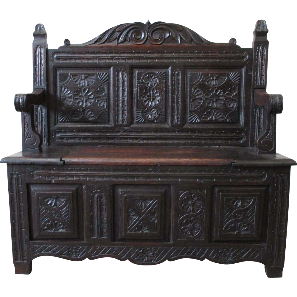 French Antique Carved Hall Bench Hall Seat Antique Furniture