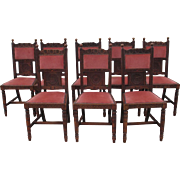 Set of Eight French Antique Oak Upholstered Dining Chairs