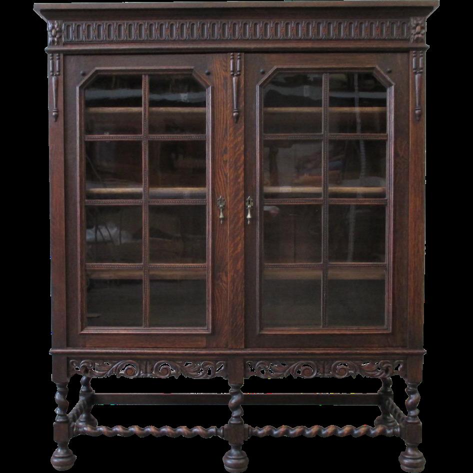 English Antique Barley Twist Bookcase Cabinet Antique Furniture