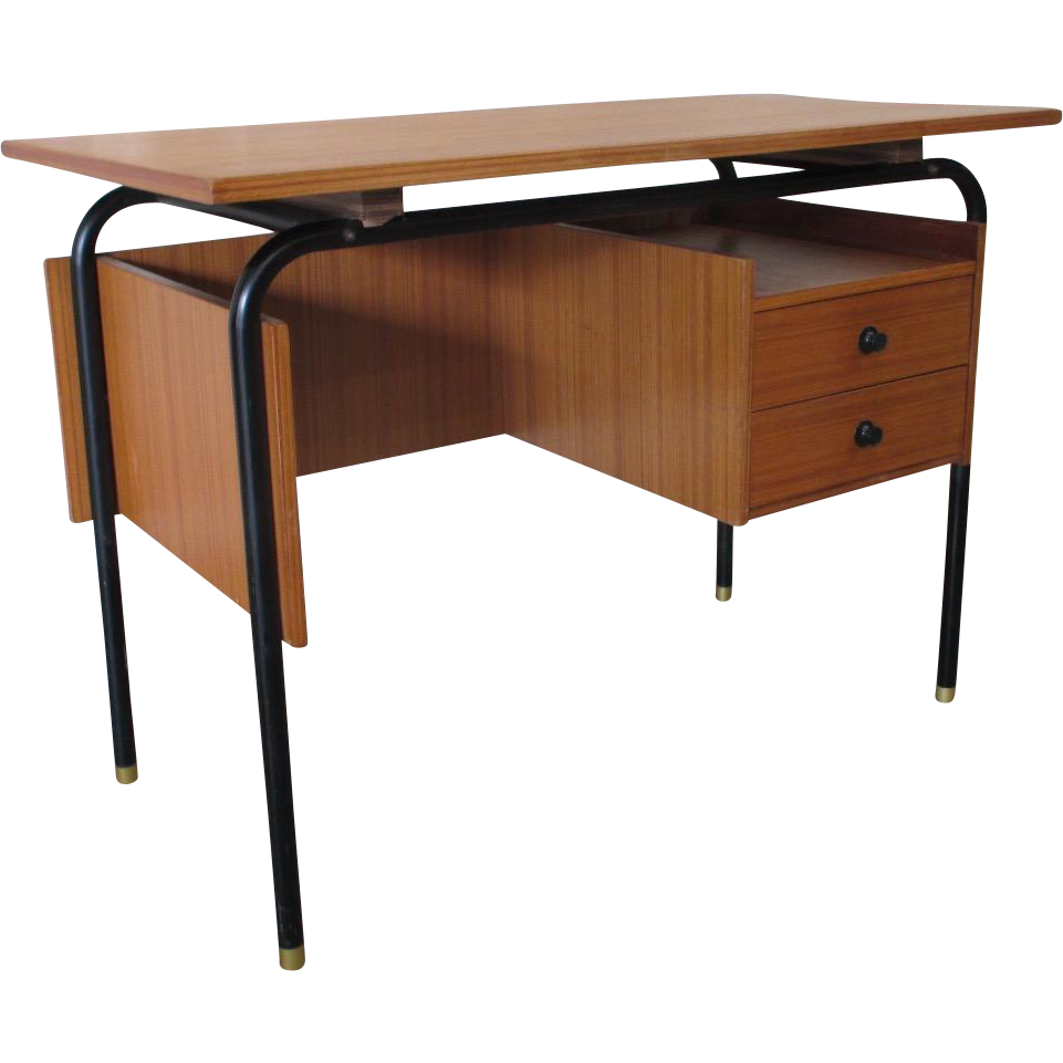 Mid-Century Modern Floating Desk With Iron Legs Vintage Furniture