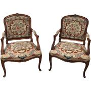 French Antique Louis XV Style Needlepoint Arm Chairs Accent Chairs