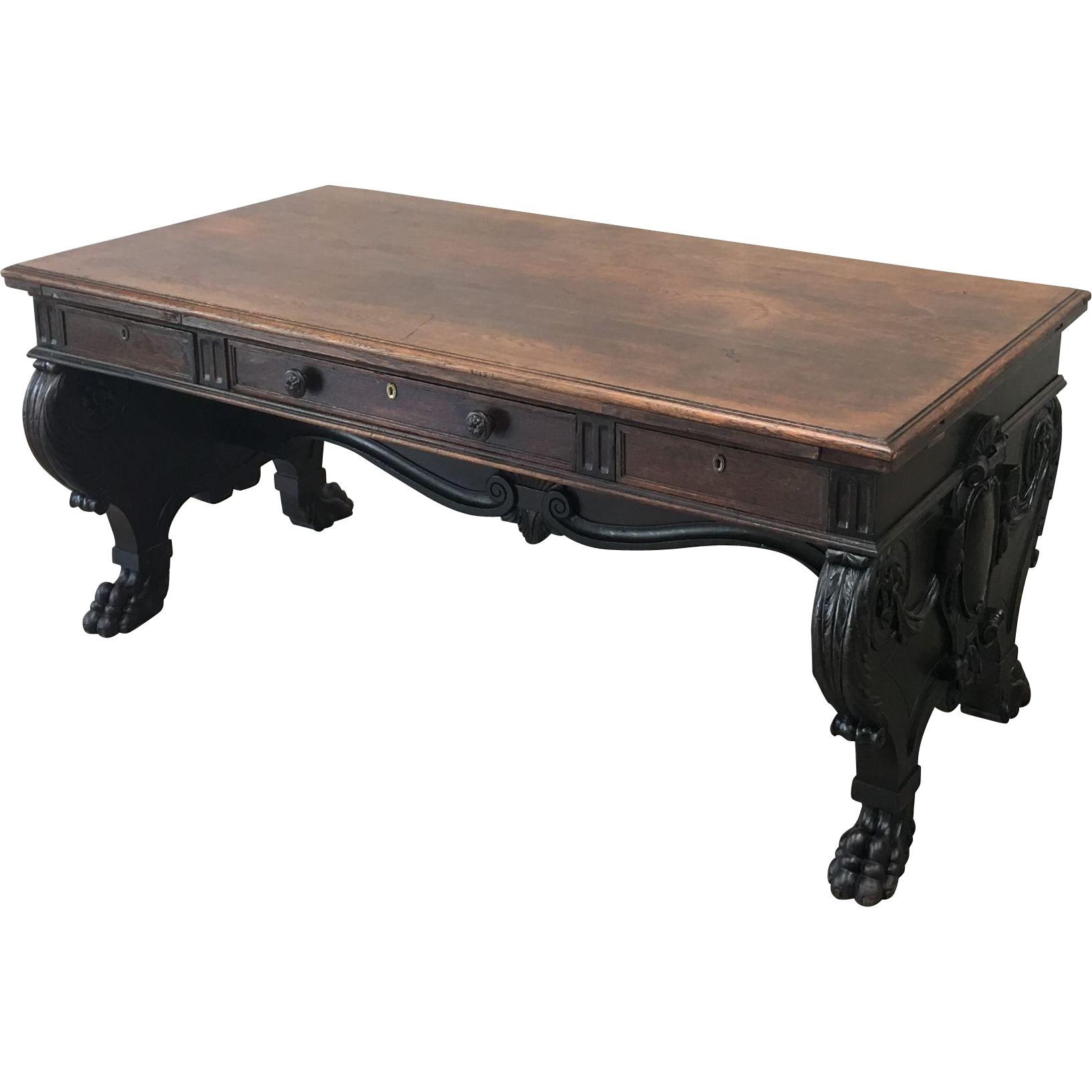 Italian Antique Partner's Desk Double Sided Desk