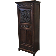 French Antique Gothic Single Door Cabinet With Drawer