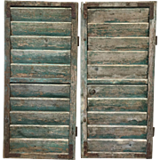 Pair of French Antique Painted Shutters Shabby Chic Window Shutters