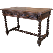 French Antique Two Drawer Entry Desk With Barley Twist Legs