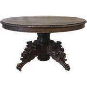 French Antique Oval Hunting Table Game Table Dining Table