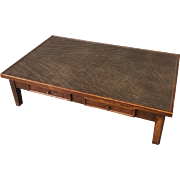 Large Vintage Coffee Table With Leather Top And Drawers