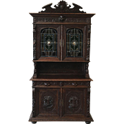 French Antique Hunt Hunters Cabinet With Leaded Stained Glass Doors Antique Furniture