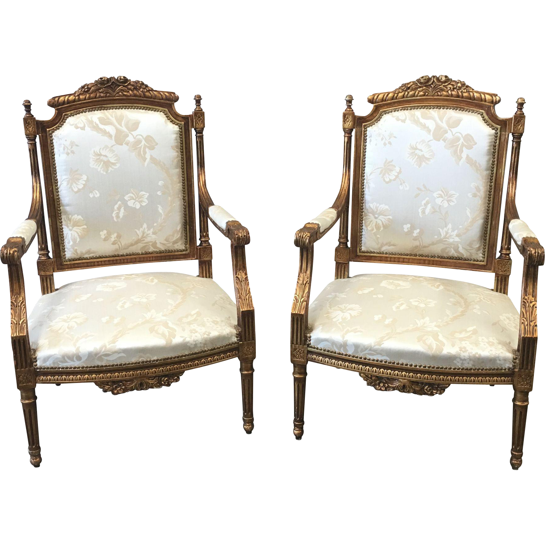 Beautiful Pair of French Louis XV Style Arm Chairs Parlor Chairs