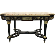 Ornate Antique Marble Top Coffee Table With Ormolu Accents