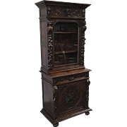 French Antique Carved Hunter's Display Cabinet Bookcase