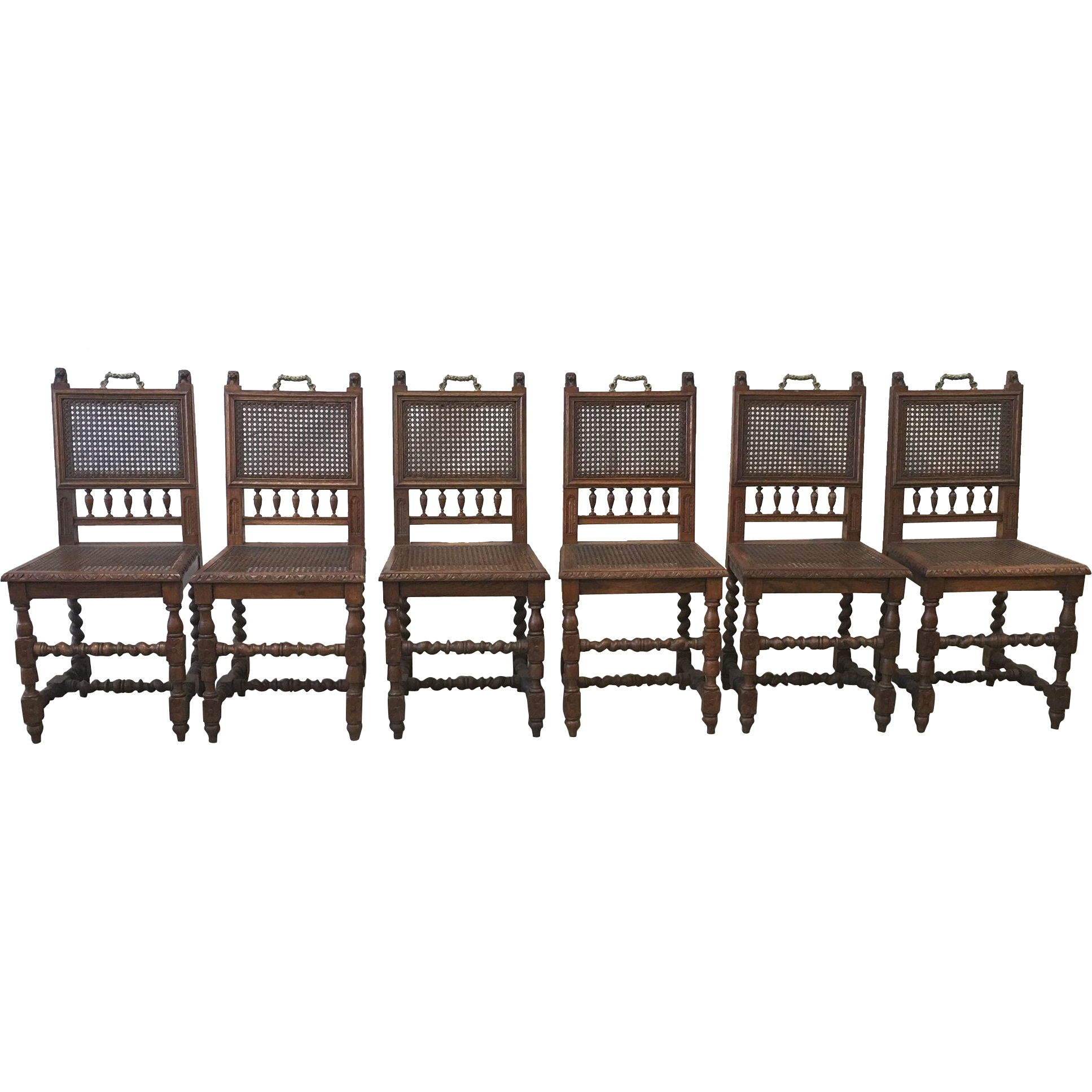 French Antique Barley Twist Dining Chairs with Cane Accents