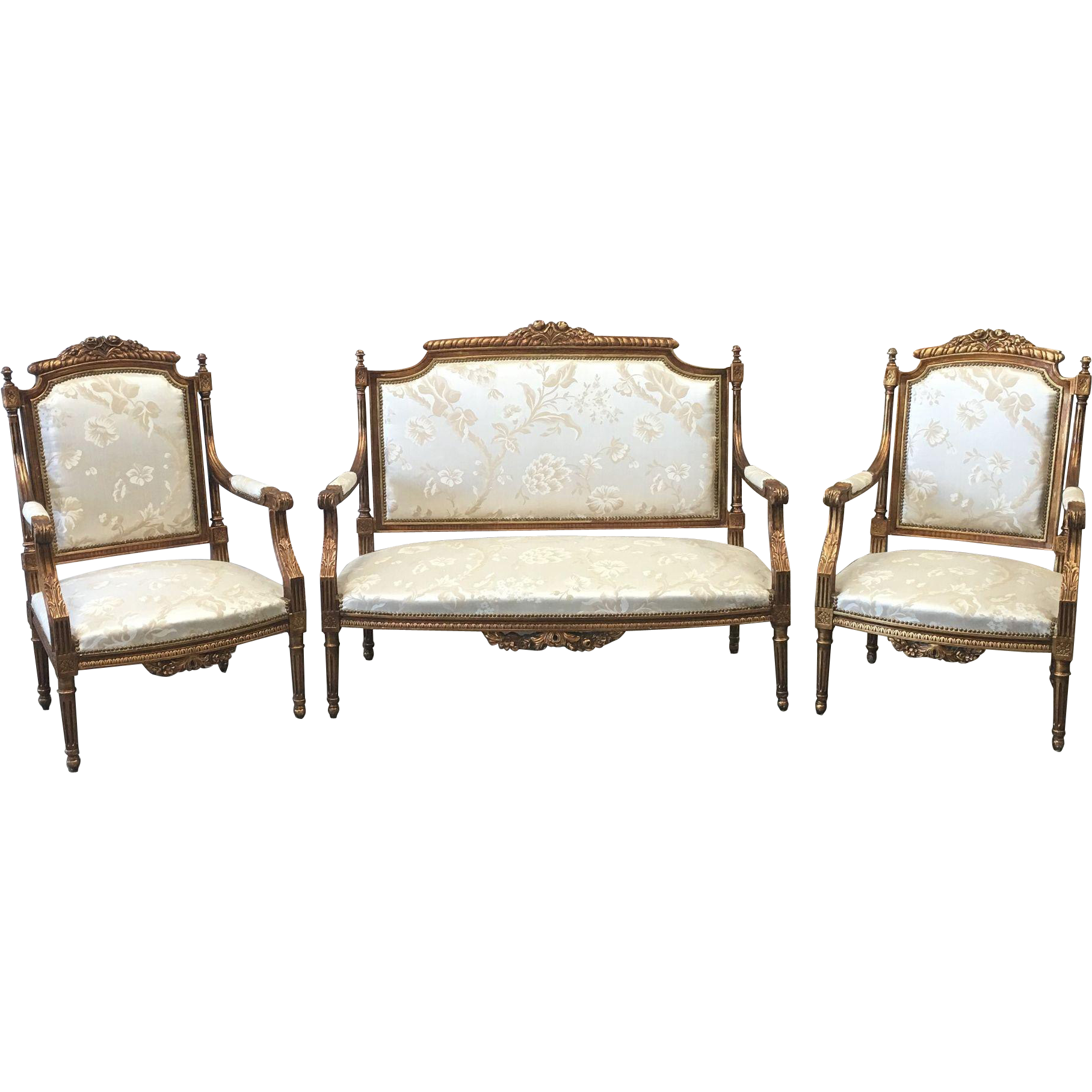 French Antique Louis XV Style 3 pc. Parlor Set Settee and Two Matching Chairs