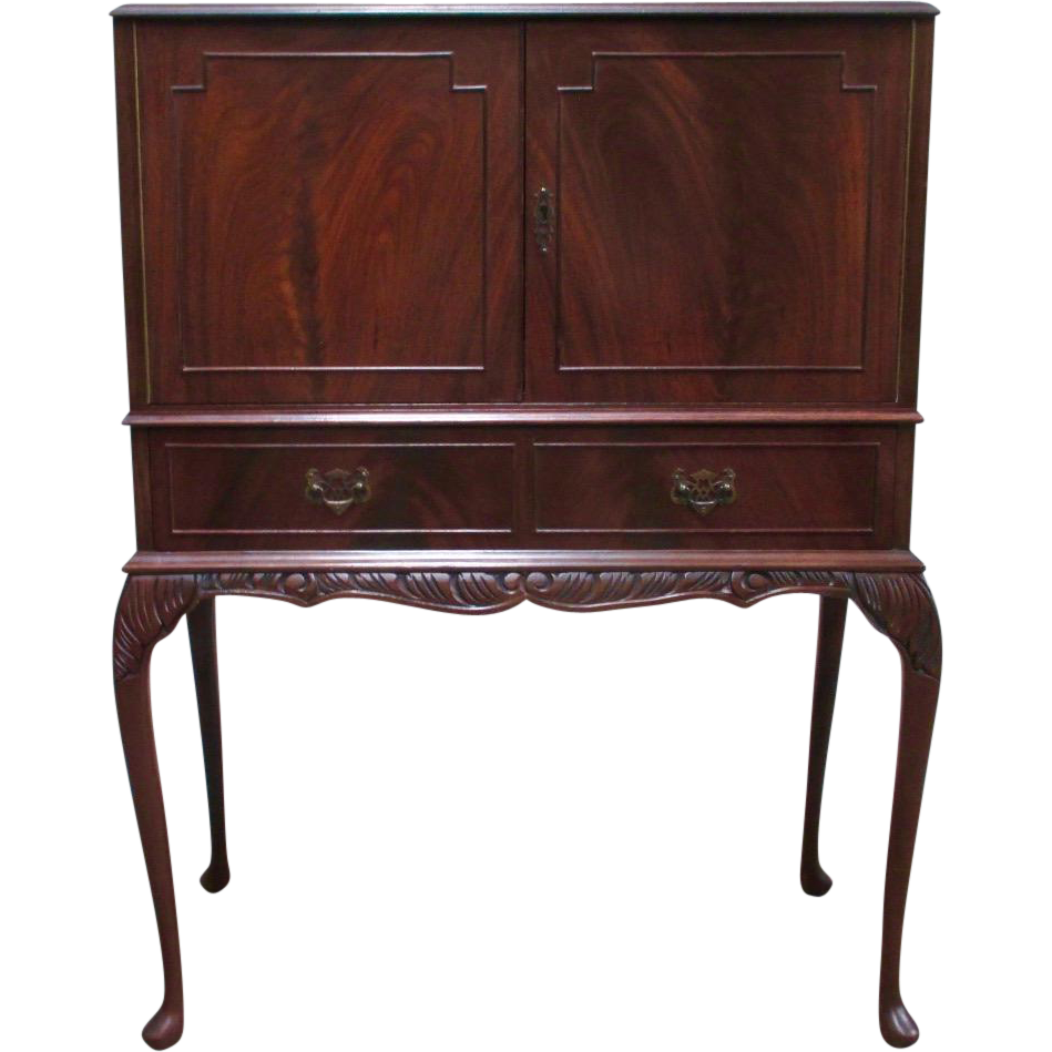 English Antique Queen Anne Style Bar Cabinet