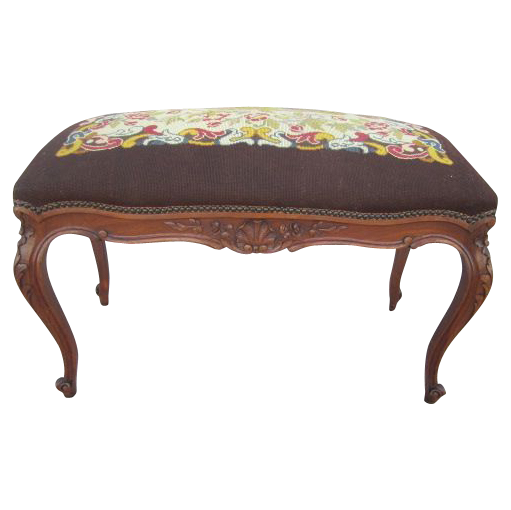 French Antique Needlepoint Bench Vanity Seat Antique Furniture