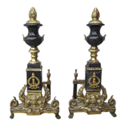 French Antique Brass and Marble Chenets Andirons Antique Fireplace Accents