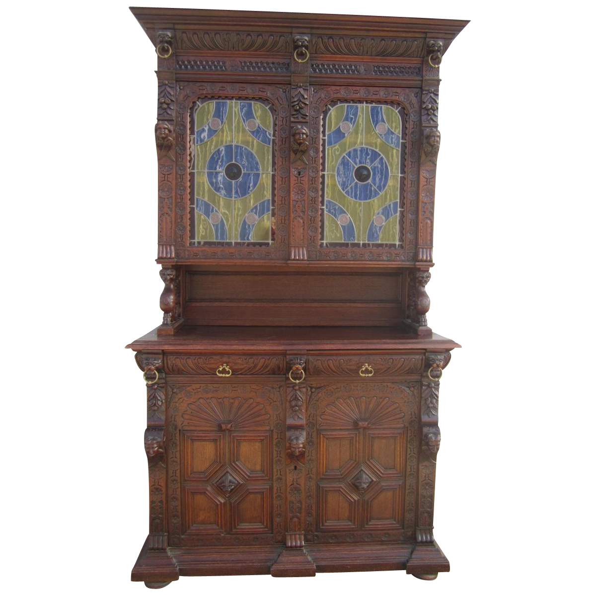 French Antique Cabinet Hutch Buffet with Cherubs Antique Furniture