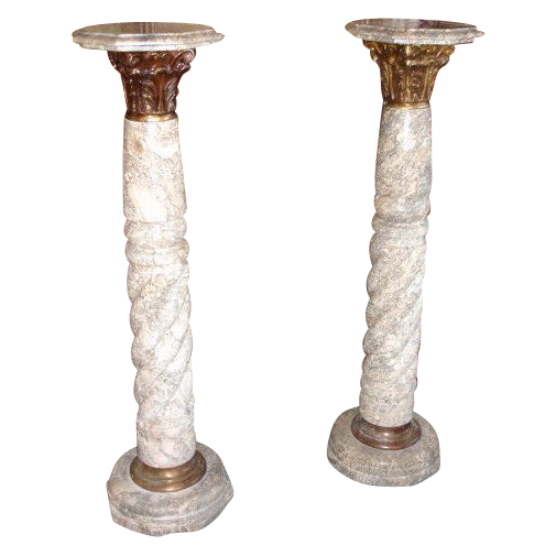 Pair of Antique Marble Pedestal Columns Plant Stands