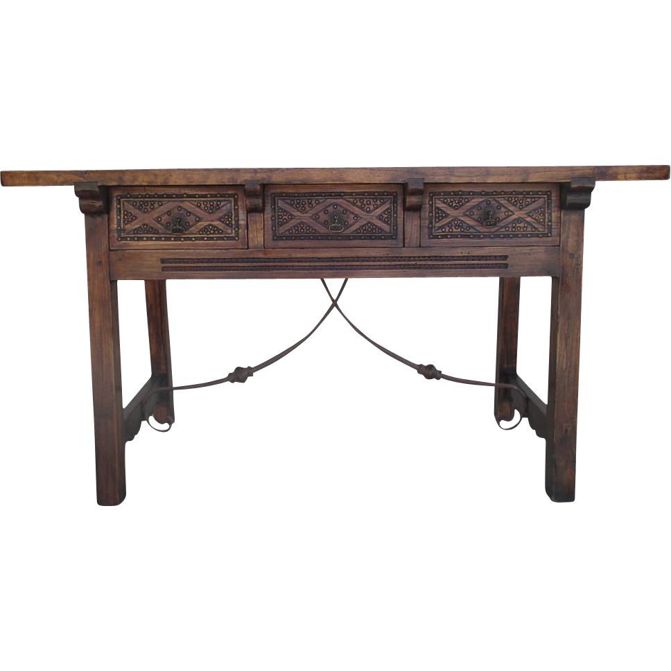 spanish antique three drawer trestle table with iron stretcher sold on ruby lane. Black Bedroom Furniture Sets. Home Design Ideas