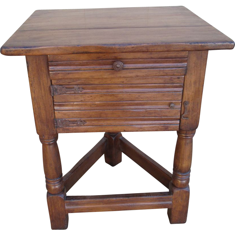 Rustic Cottage Walnut Triangular Base Side Table End Table