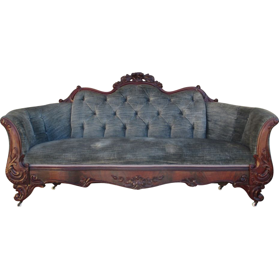 Antique Victorian Carved Sofa Couch Settee Antique