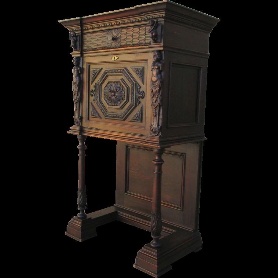 Italian Antique Carved Figural Drop Cabinet c. 1880