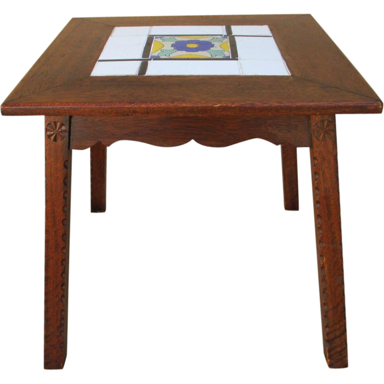 Antique Mission Spanish  Tile Top Accent Table