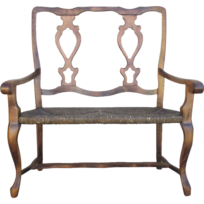 French Antique Two Seat Bench Settee with Rush Seat!