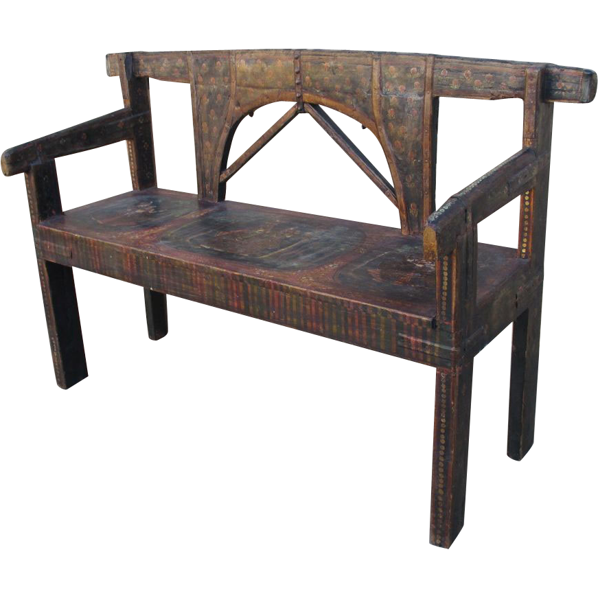 Antique Renaissance Painted Bench Settee Sold On Ruby Lane