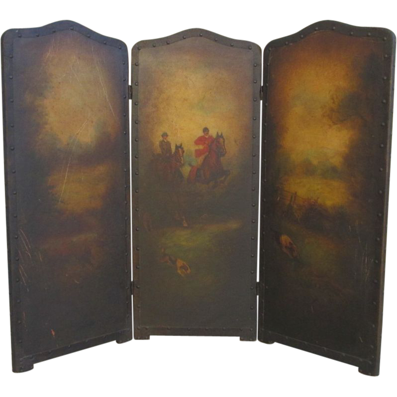English Antique Leather Screen Tri-fold Fireplace Screen