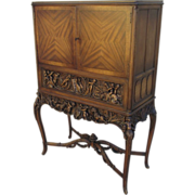 Vintage Carved Secretary Desk Cabinet