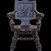European Antique Figural Pub Rocking Chair