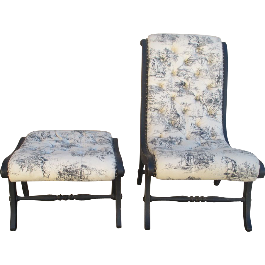 Toile Chair and Footstool