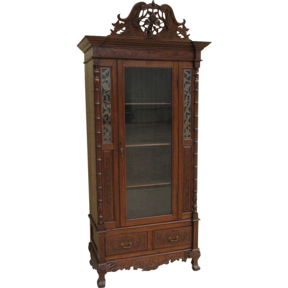 German Antique Black Forest Style Curio Display Cabinet