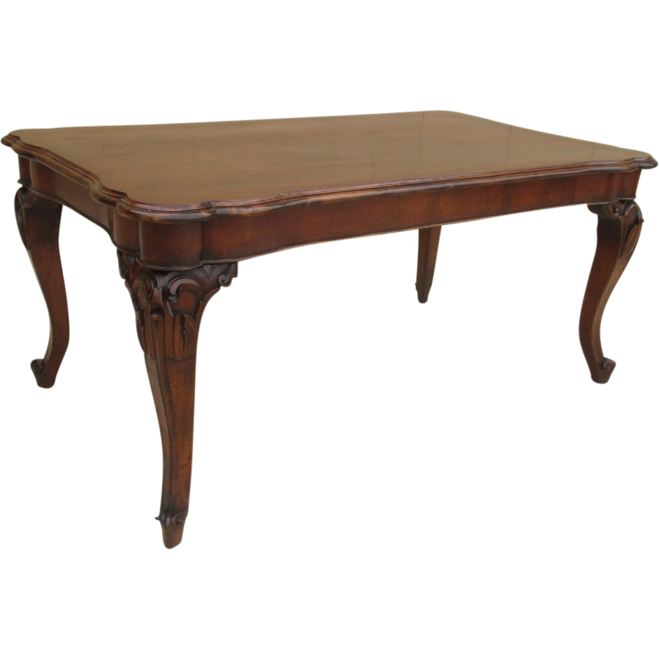 Vintage Italian Carved Walnut Dining Table