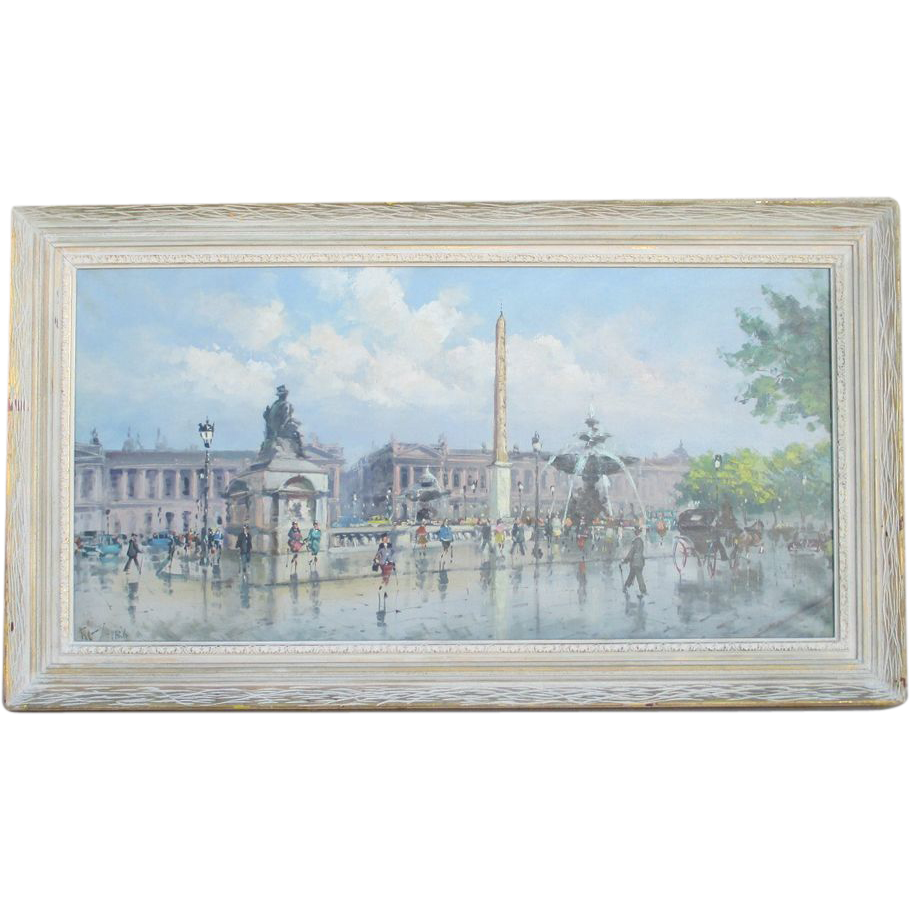 Vintage Oil Painting of Paris Street Scene Place de la Concorde
