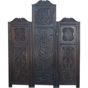Spanish Antique Oak Dressing Screen