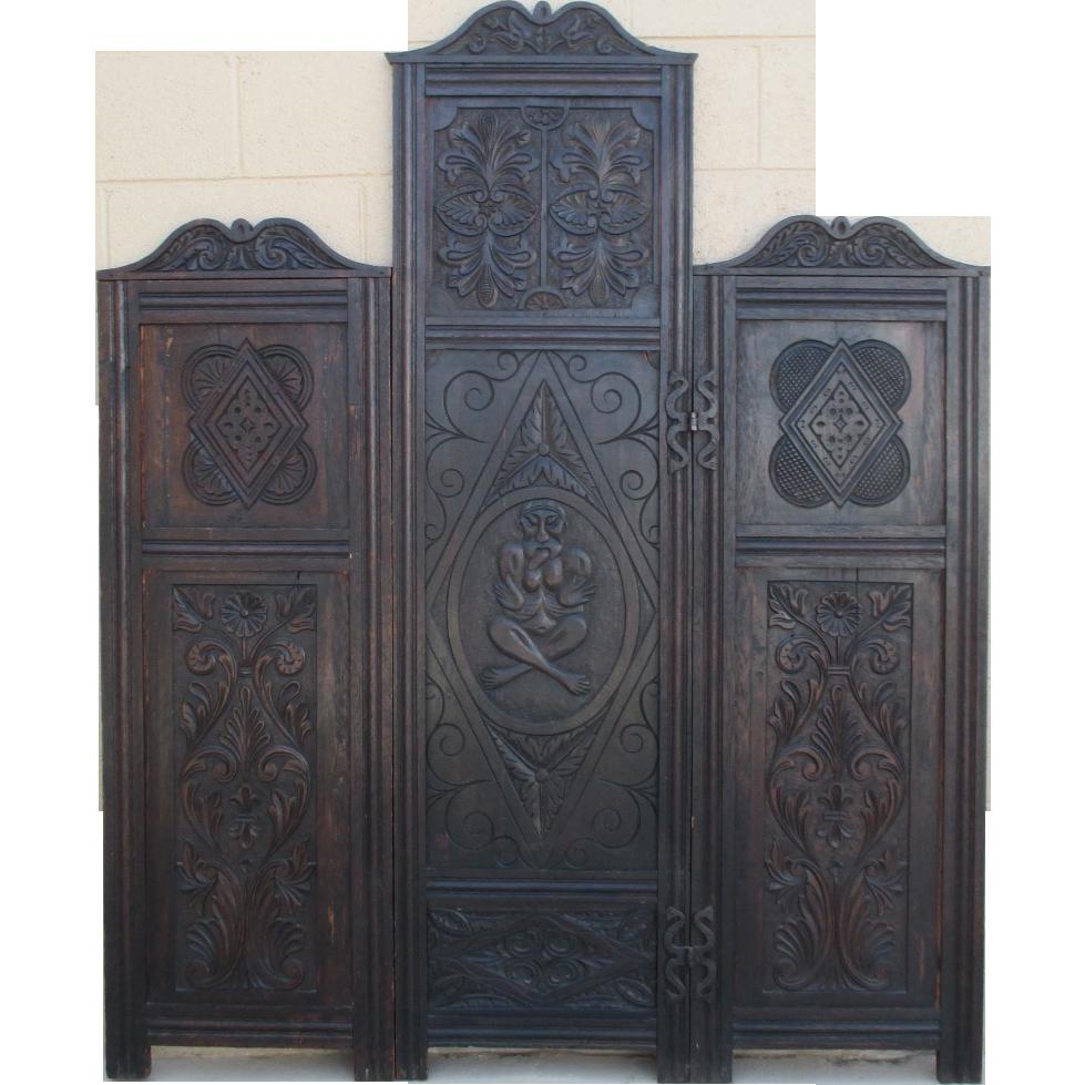 Spanish Antique Oak Dressing Screen