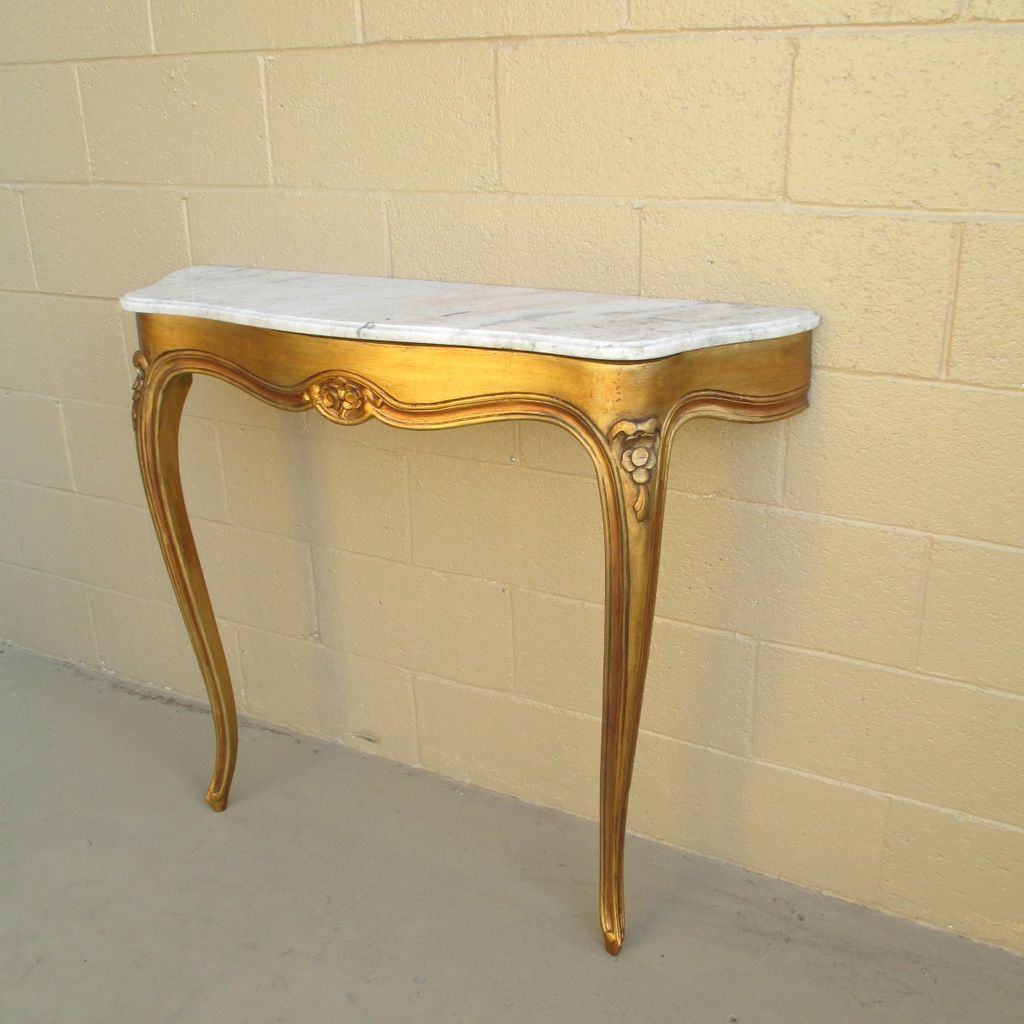 French Antique Console Entry Table with Marble Top Antique