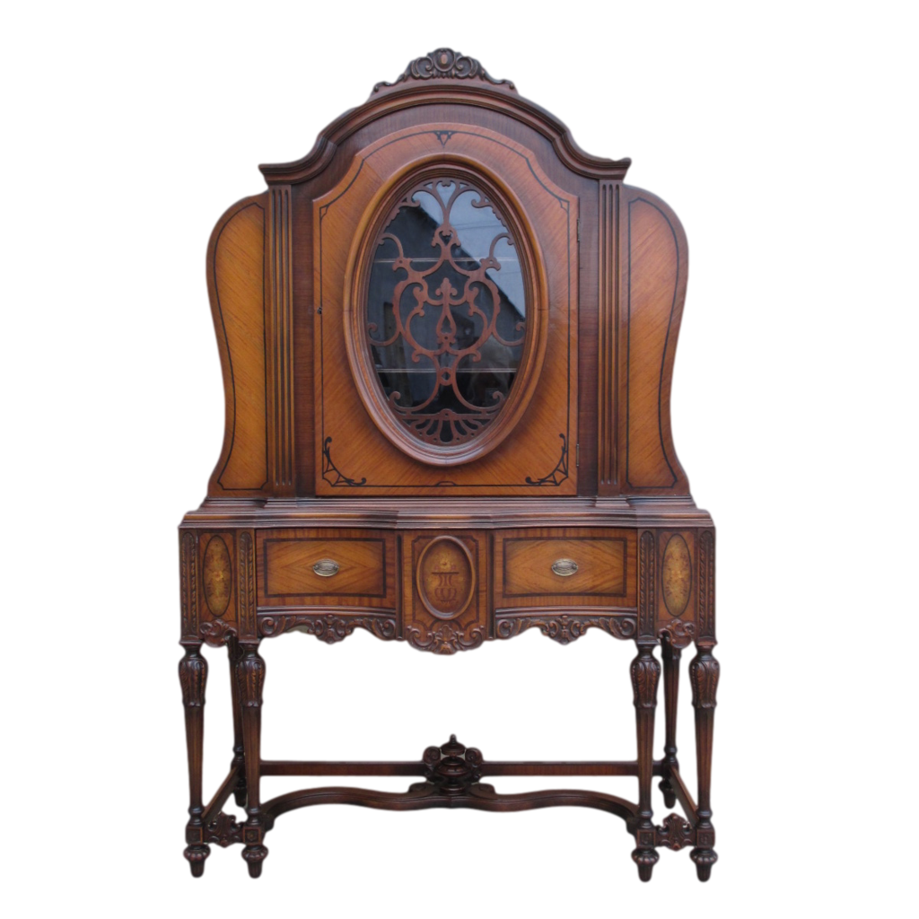 American antique walnut china cabinet antique furniture for Antique furnishings