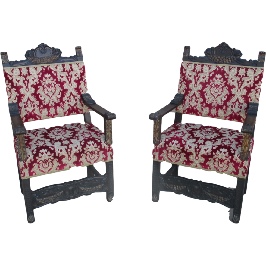 Spanish Antique Gothic Throne King's Hall Chairs Antique Furniture