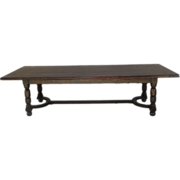 English Antique Large Dining Trestle Farm Table Antique Furniture