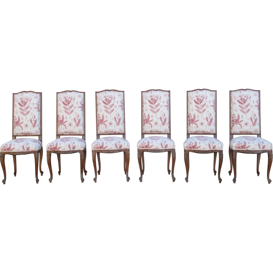 French Vintage Walnut Dining Chairs Set of Six!