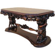Antique Italian Walnut Cherub Coffee Table with Inlay!