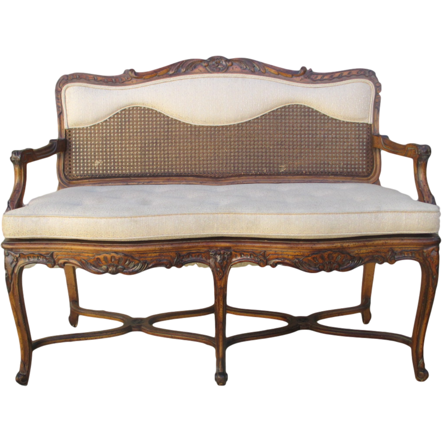 French Antique Walnut Settee Sofa with Caned Accents Antique Furniture