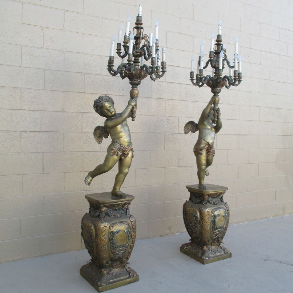 French Antique Bronze Cherub Floor Chandeliers Cherub