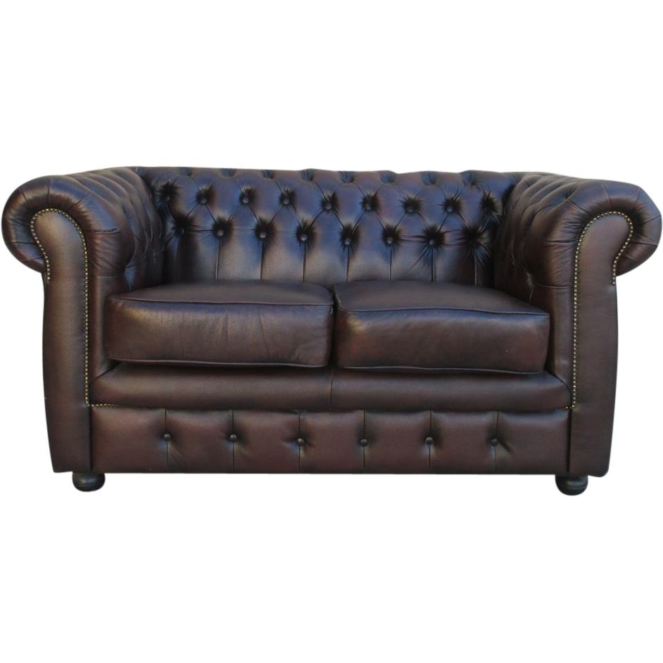 English Chesterfield Leather Sofa Loveseat Vintage Furniture