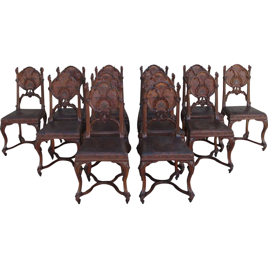 French Antique Gothic Leather & Walnut Dining Chairs Set of 8